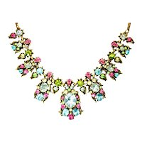 40409a - HOLLYCRAFT 1950 Pastel Colored Stones Necklace