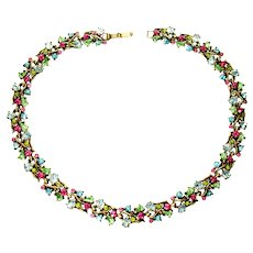 40427a - HOLLYCRAFT 1950 Pastel Colored Stones Collar/Choker/Necklace