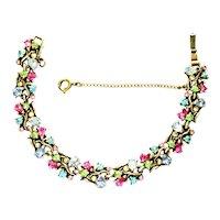40433a - HOLLYCRAFT 1950 Pastel Colored Stones 11 Links Bracelet