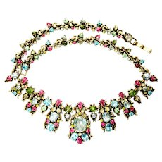 40444a - HOLLYCRAFT 1950 Pastel Colored Stones Huge Bib Drape Necklace