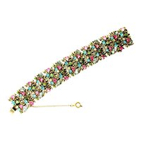 40448a - Hollycraft 1950 Pastel Rhinestones Extra Wide Bracelet