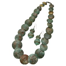 Large Hand-Patinated Bronze or Brass Pancake Disc Necklace with Dangle Earrings