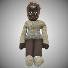 Old Poland Made Black Americana Shell Mask Face Handmade Rag Doll