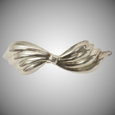 Large Taxco Sterling Silver Wavy Bow Hair Barrette Clip