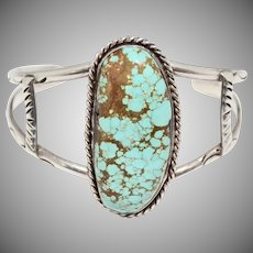 Large Oblong Spiderweb Turquoise Sterling Silver Cuff Bangle Bracelet