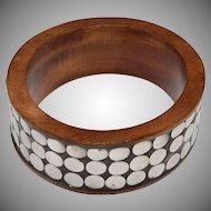 Large Sterling Silver Dot Wide Wood Bangle