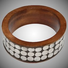 Large Sterling Silver Dot Wide Wood Bangle
