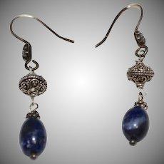 Sterling Silver Blue Sodalite Bead Filigree Dangle Earrings