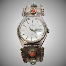 Sterling Silver Turquoise & Coral Watch Tips with LeGran Watch Face-Works