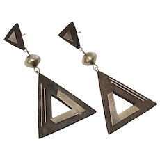 Large Sterling Silver Wood Triangle Dangle Earrings