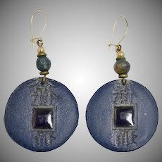Blue Ceramic Chinese Character Coin Dangle Pierced Earrings