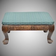 Antique Small Floral Carved Wood Footstool with Green Fabric Upholstery