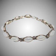 Signed Sterling Silver Moonstone Navette Link Bracelet