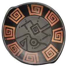 Maneno Signed Chulucanas Peru Fired Black Clay Carved & Abstract Painted Pottery Bowl