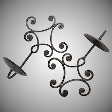 Set of 2 Metal Scrollwork Candle Holder Wall Sconces