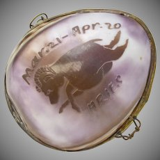 Unusual Zodiac Astrology ARIES Ram Large Handmade Cowrie Shell Trinket Box or Coin Purse