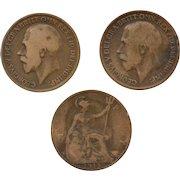 Circa 1917, 1918, 1919 Great Britain King George GEORGIVS Circulated UK Penny Coin