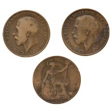 Circa 1917, 1918, 1919 Great Britain King George GEORGIVS Circulated UK Penny Coin