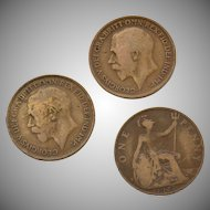 Circa 1915, 1916, 1917 Great Britain King George GEORGIVS Circulated UK Penny Coin