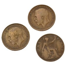 Circa 1915, 1916, 1917 Great Britain King George GEORGIVS Circulated UK Penny Coin
