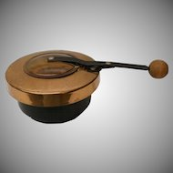 Copper & Wood Food Warmer Candle Holder w/ Swivel Lid