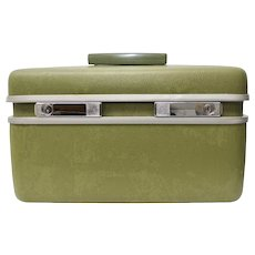 Samsonite Royal Traveller Avocado Green Cosmetic / Carry On / Train Hard Case