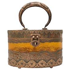 Walborg Signed Copper Clad & Amber Colored Lucite Oval Box Purse Handbag
