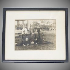 RARE Circa 1910 Girls' Basketball Team B&W 8x10 Framed Photograph