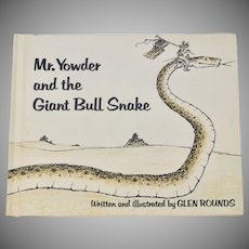 Circa 1978 Mr. Youder and the Giant Bull Snake Hardcover Book
