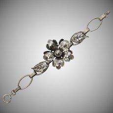 Circa 1930s Hammered Silvertone Flower Link Bracelet
