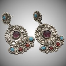 TAXCO Sterling Silver Matl Style Amethyst, Turquoise & Coral Dangle Earrings