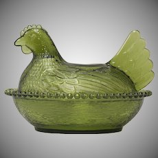 Indiana Glass Avocado Green Hen on Nest Figural Candy Dish