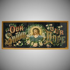 "Circa 1880 Dreyfuss & Sachs Jesus Christ ""Our Savior Our Hope"" Color Lithograph in original Gilt Wood Frame"