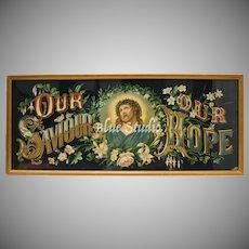 "Circa 1880 Dreyfuss & Sachs Jesus Christ ""Our Savior Our Hope"" Color Lithograph in original Gilt Wood Frame"