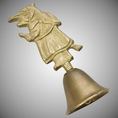 Kitchen Witch on Flying Broom Small Brass Bell