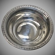 Ellmore Silver Co. Sterling Silver Acanthus Leaf Pierced Rim Nut or Candy Bowl / Dish