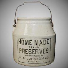 H.A. Johnson Boston Homemade Preserves Primitive Ceramic Jar with Original Lid