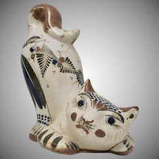 Large Handpainted Mexican Pottery Crouching Cat Sculpture