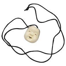 Signed Metropolitan Museum of Art MMA Japanese Mask Netsuke Pendant w/ Black Silk Cord Necklace ~ Very Good Condition