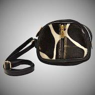 Valentina Italy Black & White Pony Hair Triple Compartment Small Crossbody Leather Purse