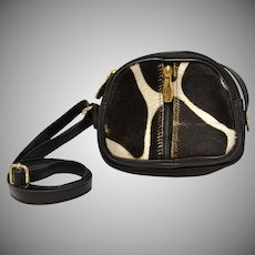Valentina Italy Black & White Pony Hair Triple Compartment Small Crossbody Leather Purse