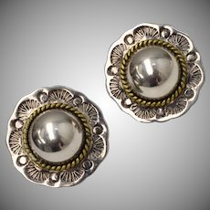 Stamped 925 Mexican Sterling Silver Button Earrings