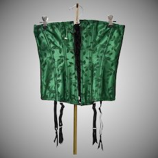 New Old Stock 2-Piece Emerald Green & Black Satin Corset Bustier Set