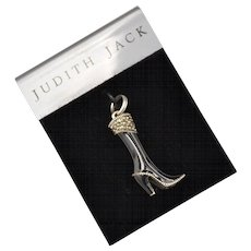 Judith Jack Sterling Silver Black Enamel Marcasite High Heel Boot Charm on Original Card