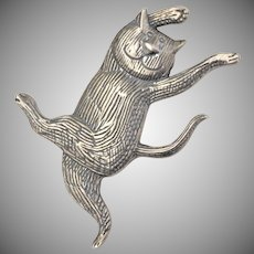 """Signed Edward Gorey """"Happy Cat"""" Sterling Silver Brooch/Pin"""