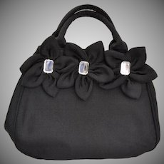 Designer Joy Black Cord Rhinestone Flower Large Slouch Handbag Purse
