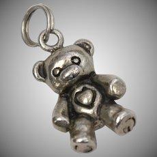 Heavy Solid Sterling Silver Teddy Bear Dangle Charm