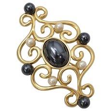 Large Signed Monet Designer Goldtone Scrollwork Black & White Faux Pearl Pin/Brooch