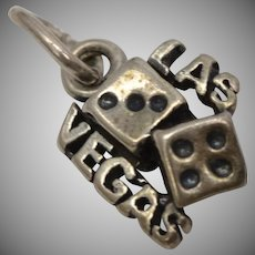 "Sterling Silver SOLID Double-Sided ""Las Vegas"" Rolling Dice Dangle Charm"