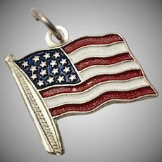 Sterling Silver & Enamel American Flag Dangle Charm
